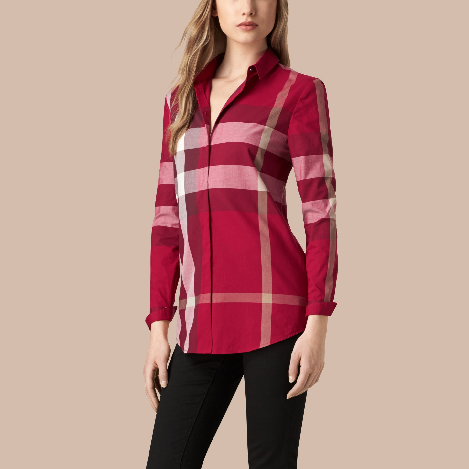 Check Cotton Shirt in Peony Rose - gallery image 1