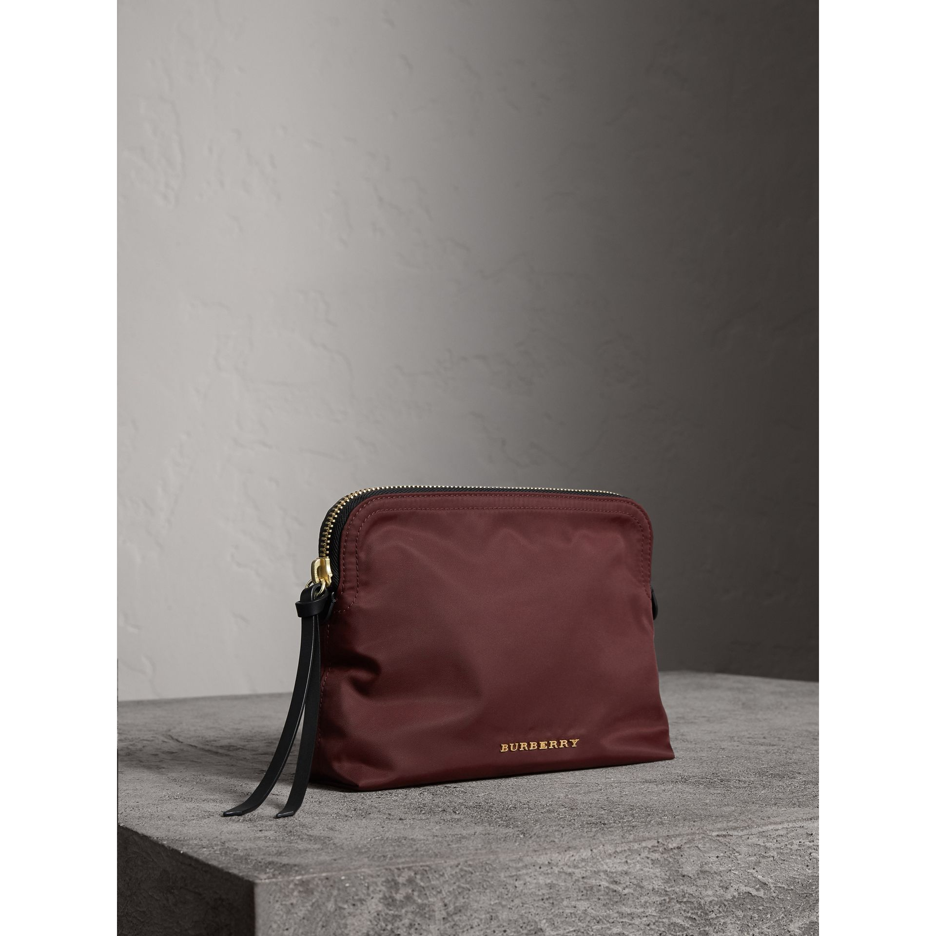 Large Zip-top Technical Nylon Pouch in Burgundy Red - Women | Burberry Canada - gallery image 6