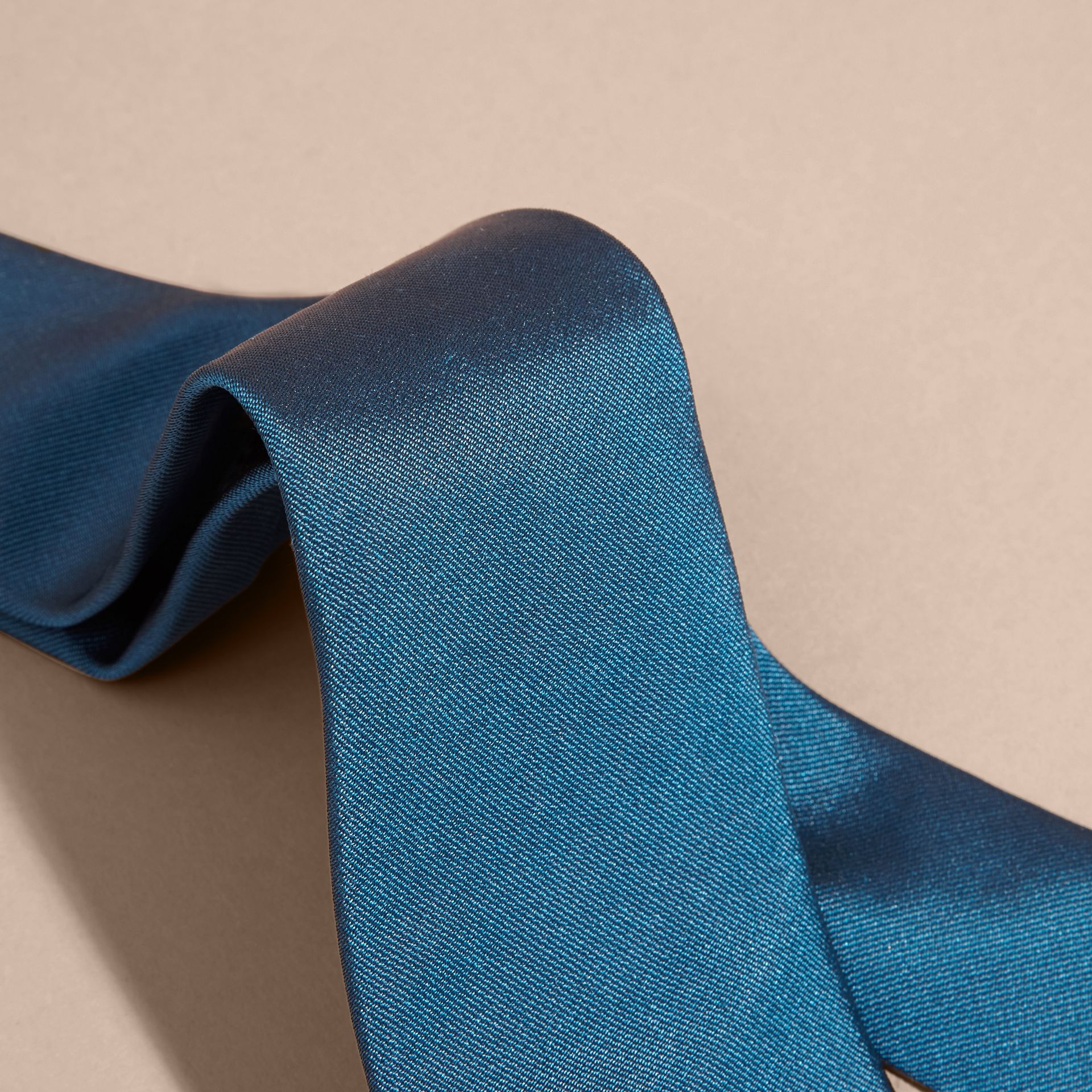 Bright blue Modern Cut Silk Twill Tie Bright Blue - gallery image 2