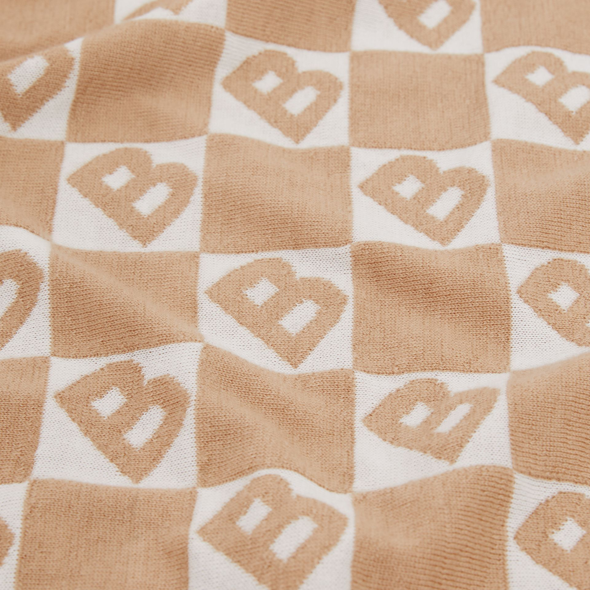 B Motif Cotton Merino Wool Cashmere Baby Blanket in Light Camel - Children | Burberry Singapore - gallery image 1