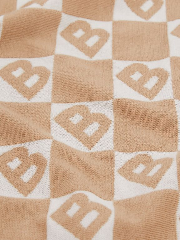 B Motif Cotton Merino Wool Cashmere Baby Blanket in Light Camel - Children | Burberry Singapore - cell image 1