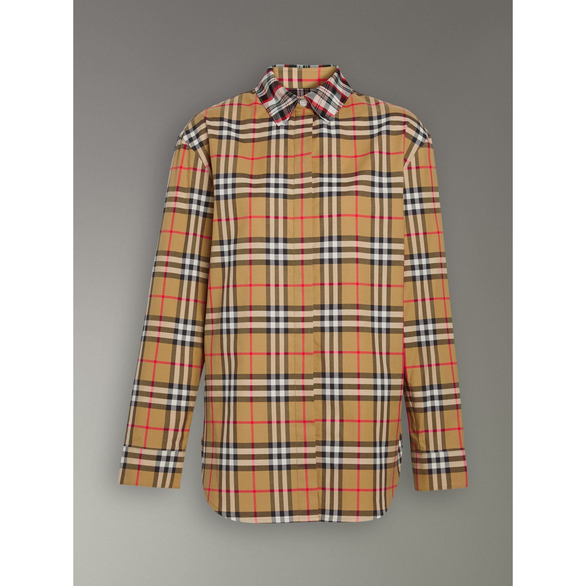 Contrast Check Cotton Shirt in Antique Yellow - Women | Burberry - gallery image 3