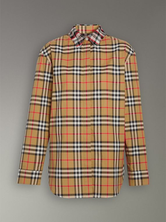 Contrast Check Cotton Shirt in Antique Yellow - Women | Burberry Australia - cell image 3