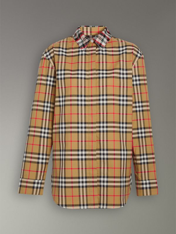 Contrast Check Cotton Shirt in Antique Yellow - Women | Burberry Hong Kong - cell image 3