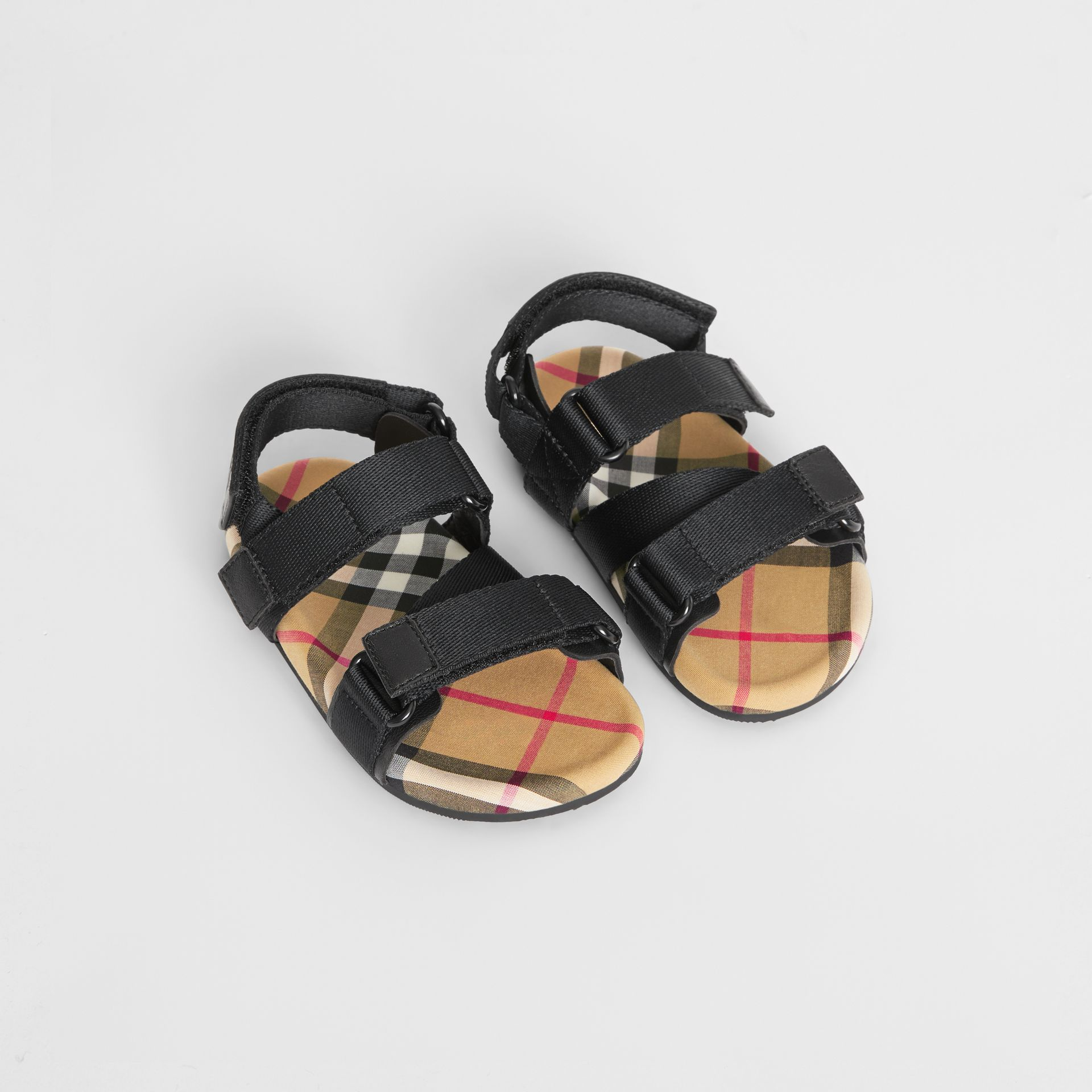Sandales en coton Vintage check avec bride indéchirable (Noir/jaune Antique) - Enfant | Burberry Canada - photo de la galerie 0