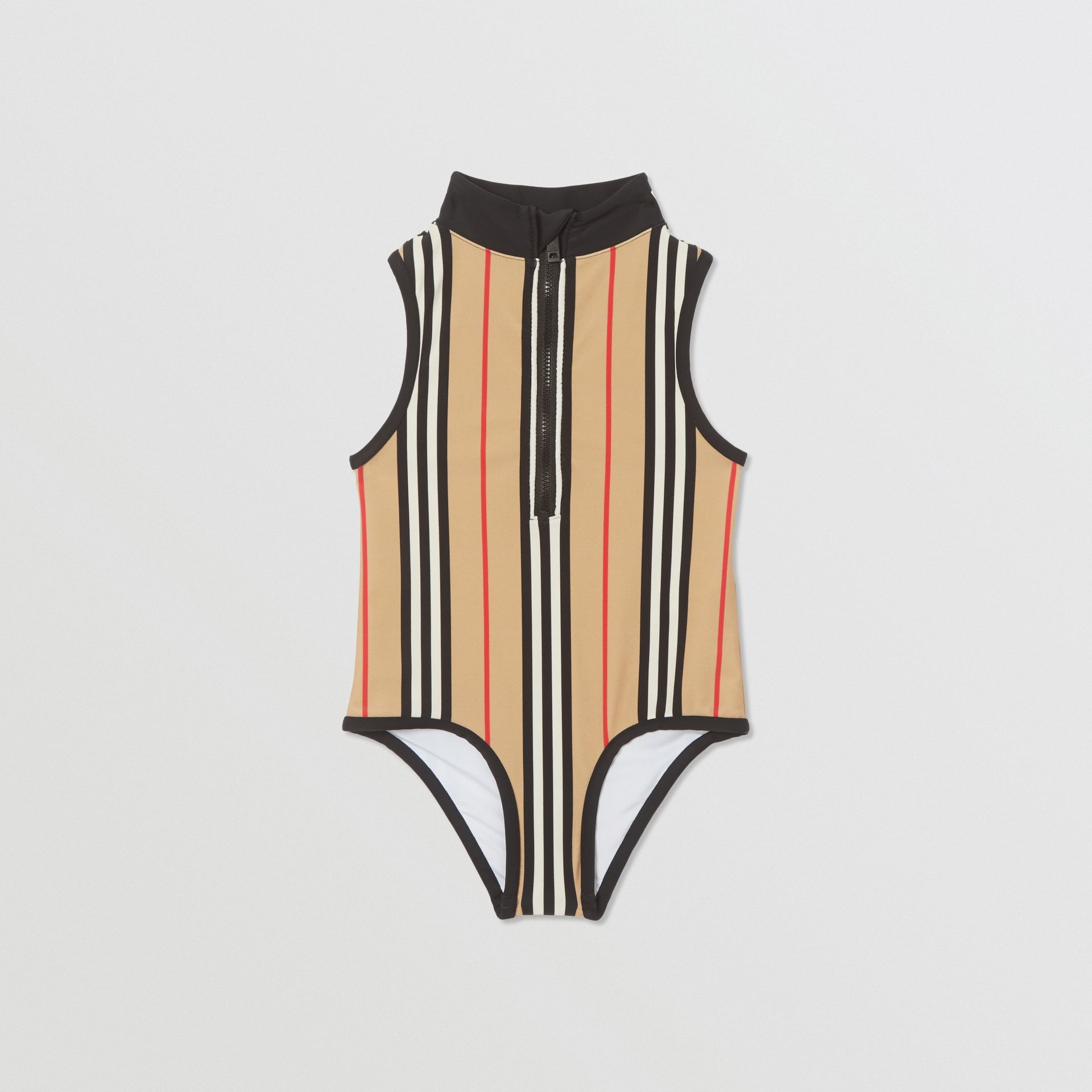Icon Stripe Zip-front Swimsuit in Archive Beige | Burberry - gallery image 0