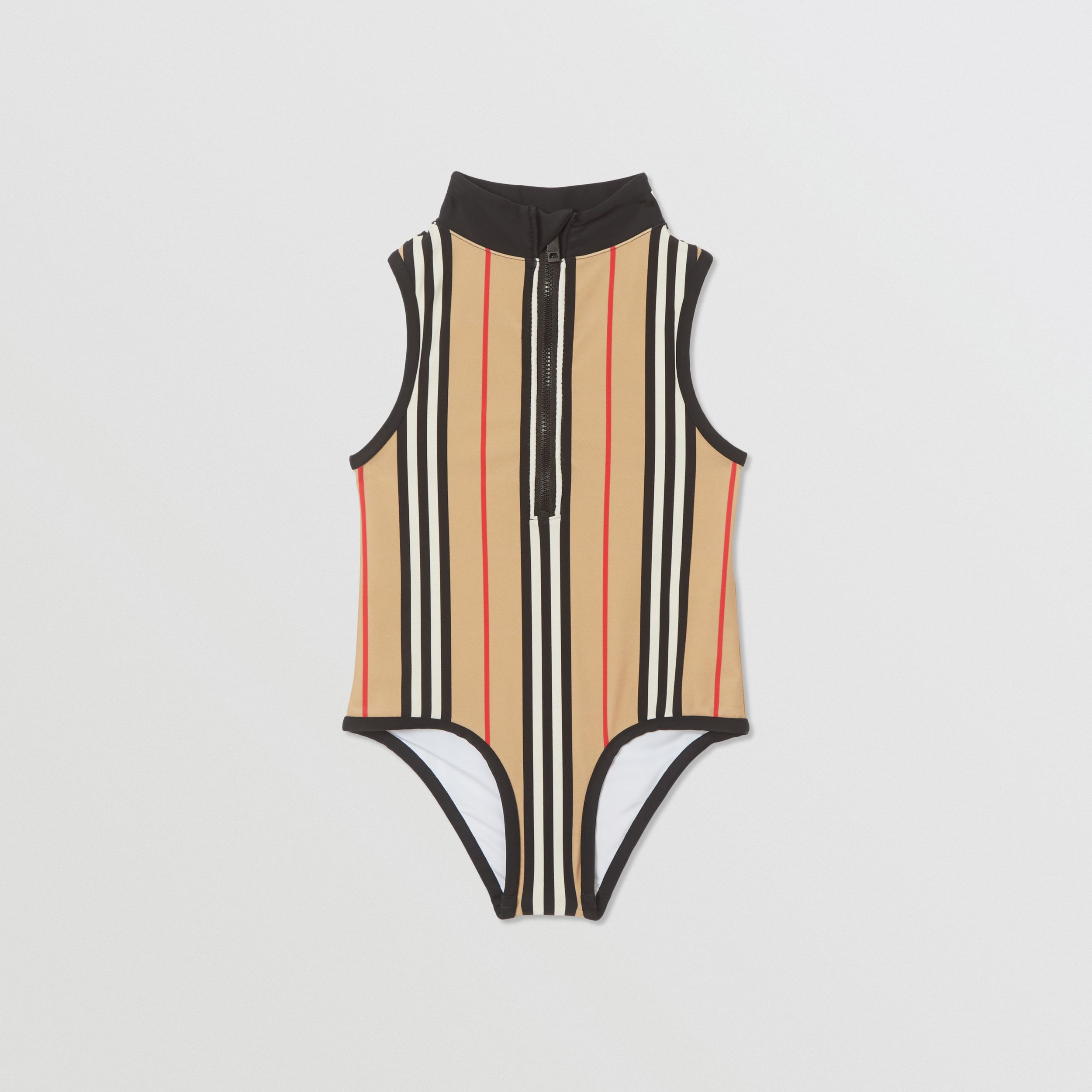 Icon Stripe Zip-front Swimsuit in Archive Beige | Burberry - 1