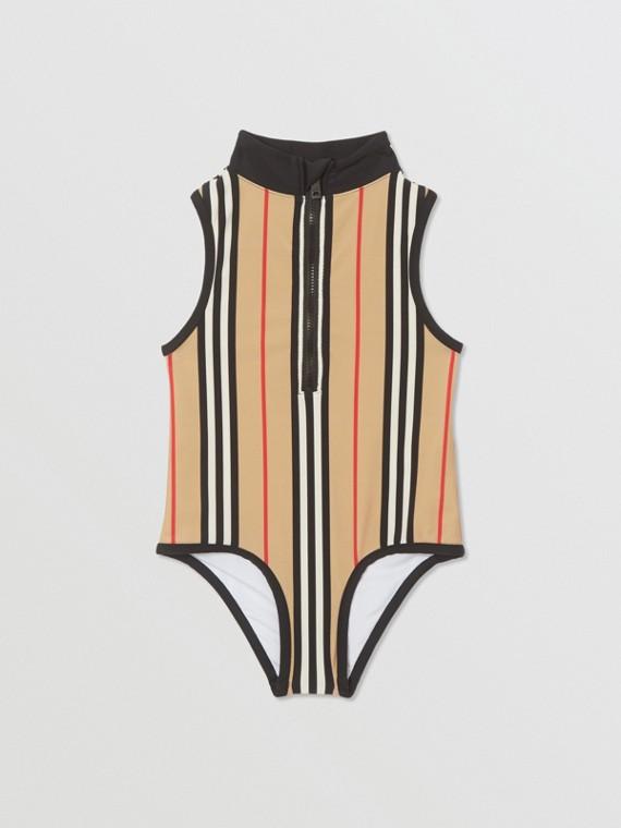 Icon Stripe Zip-front Swimsuit in Archive Beige