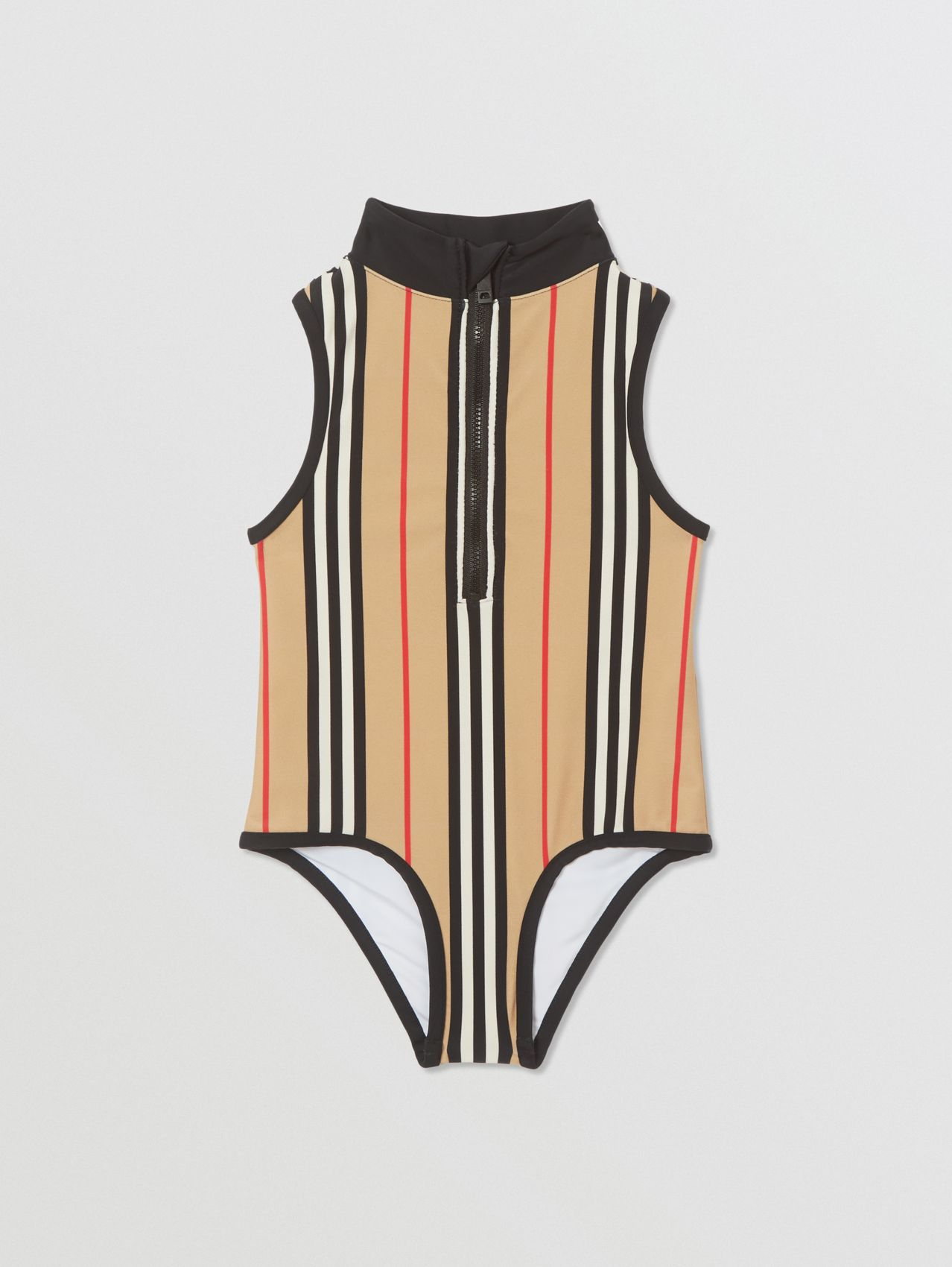Icon Stripe Zip-front Swimsuit in Archive Beige