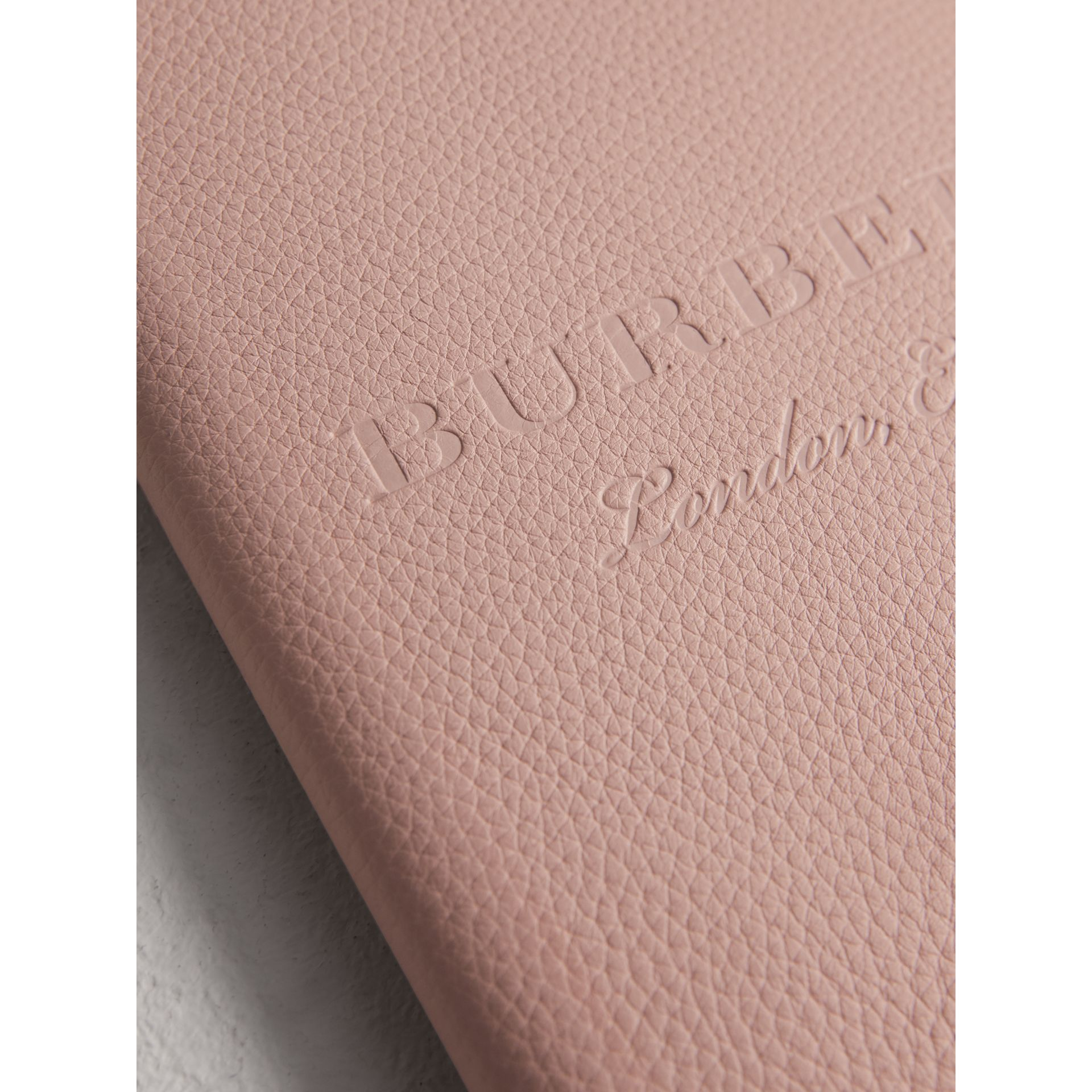 Embossed Leather Ziparound A5 Notebook Case in Pale Ash Rose | Burberry - gallery image 1