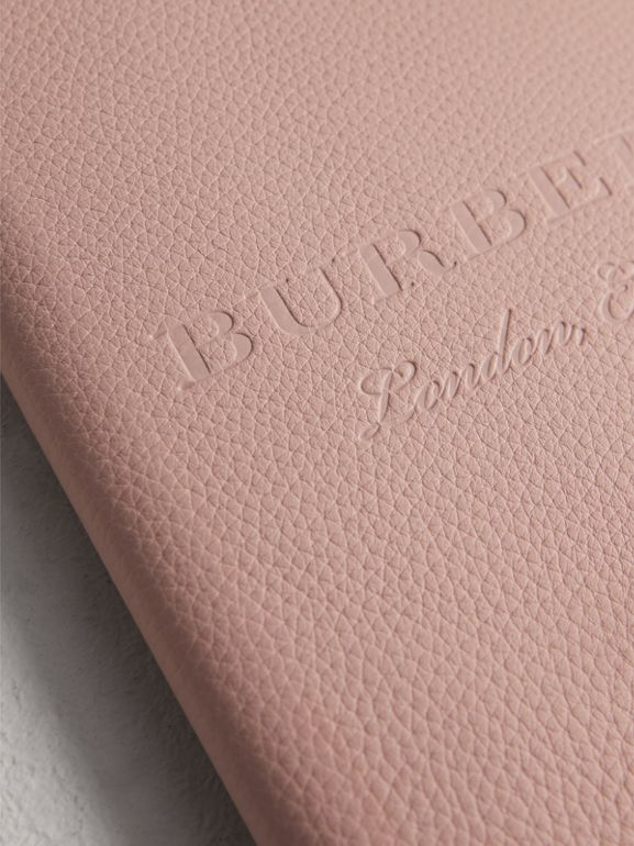 Embossed Leather Ziparound A5 Notebook Case in Pale Ash Rose | Burberry United Kingdom - cell image 1