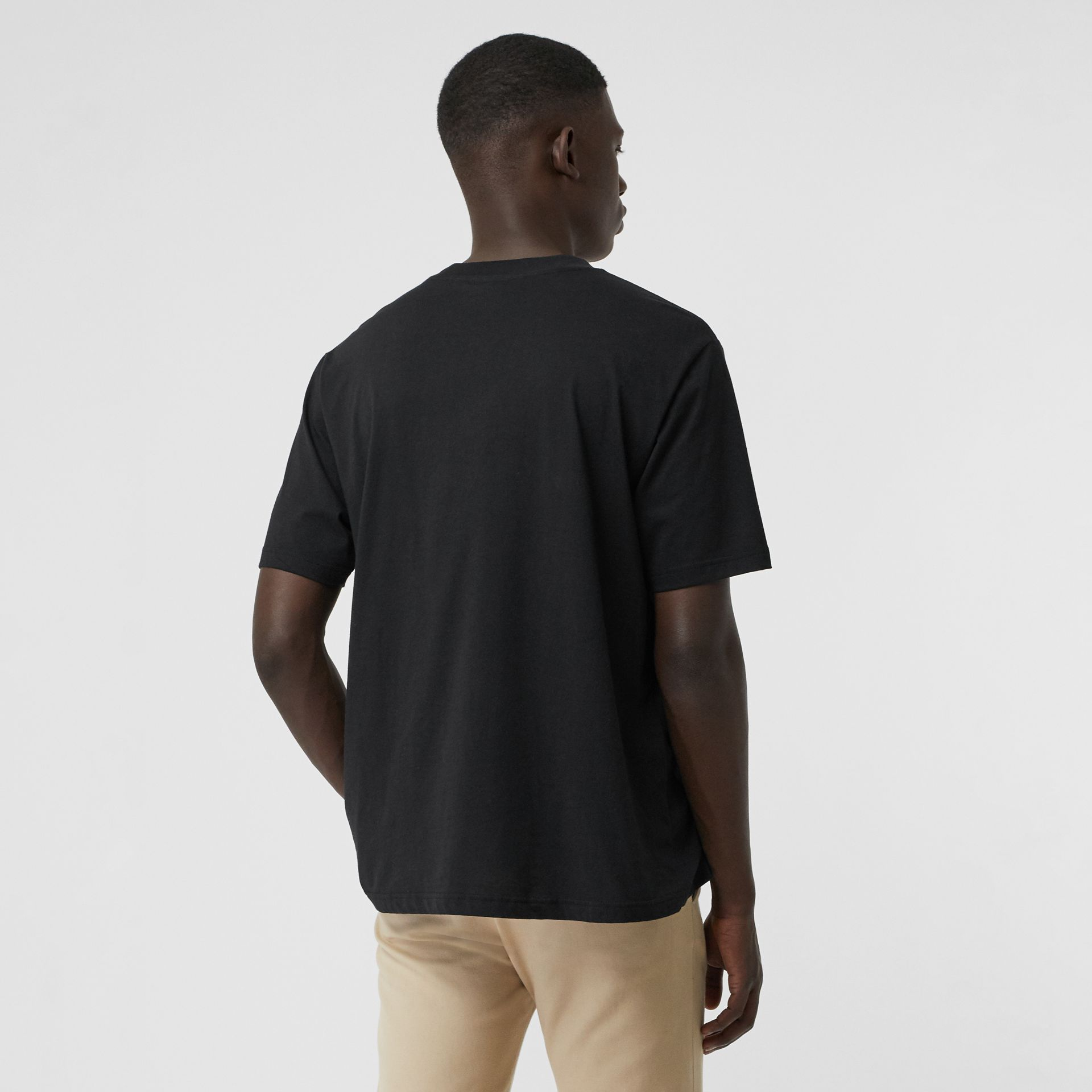 Check Logo Cotton T-shirt in Black - Men | Burberry - gallery image 2