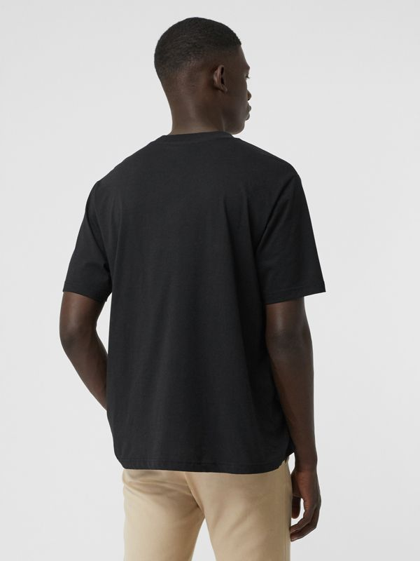 Check Logo Cotton T-shirt in Black - Men | Burberry - cell image 2