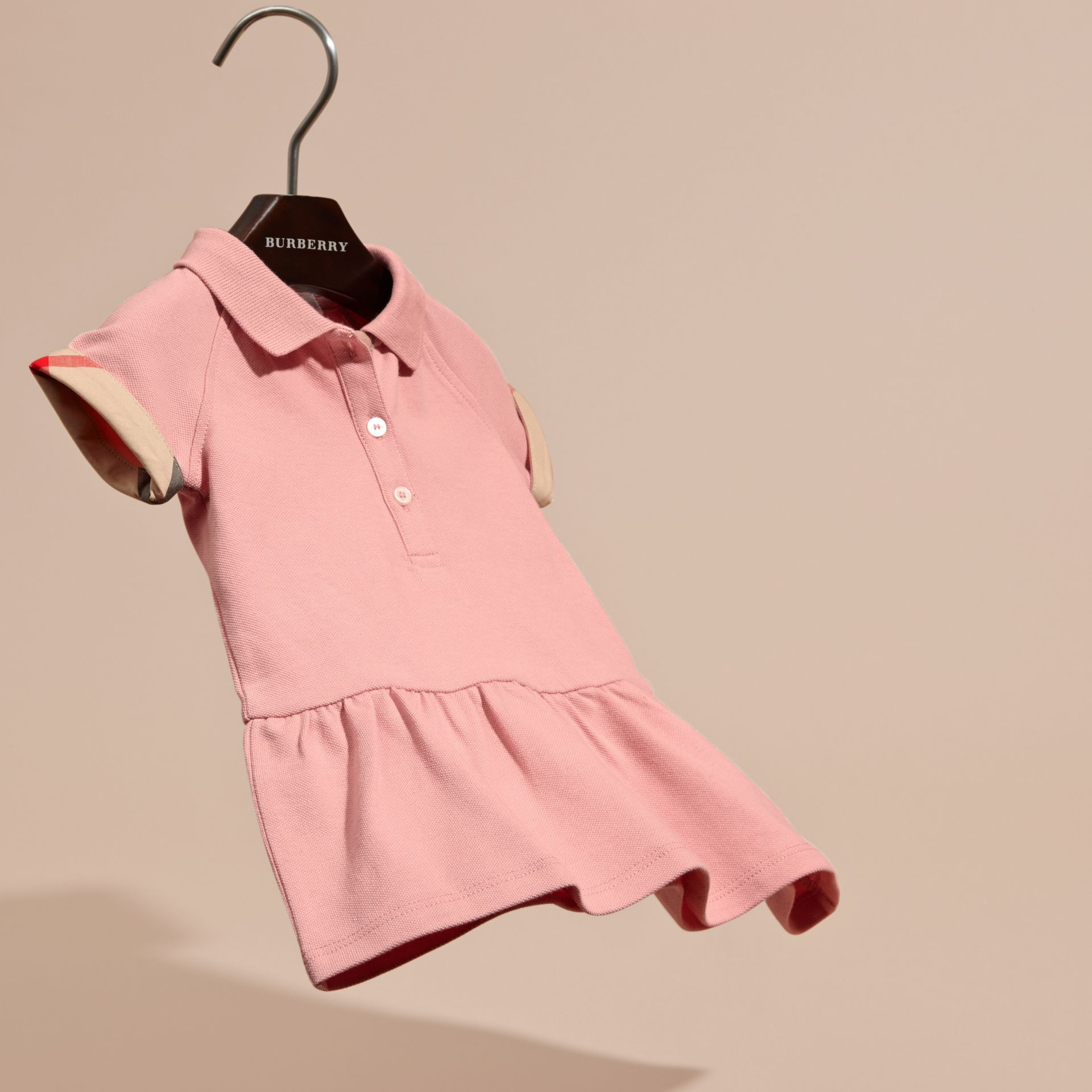 Check Detail Stretch Cotton Piqué Dress Ash Rose - gallery image 3