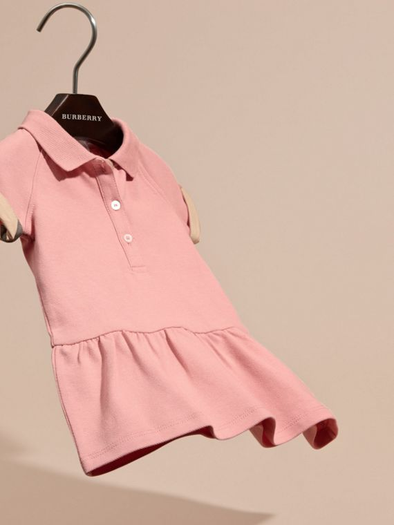 Check Detail Stretch Cotton Piqué Dress Ash Rose - cell image 2