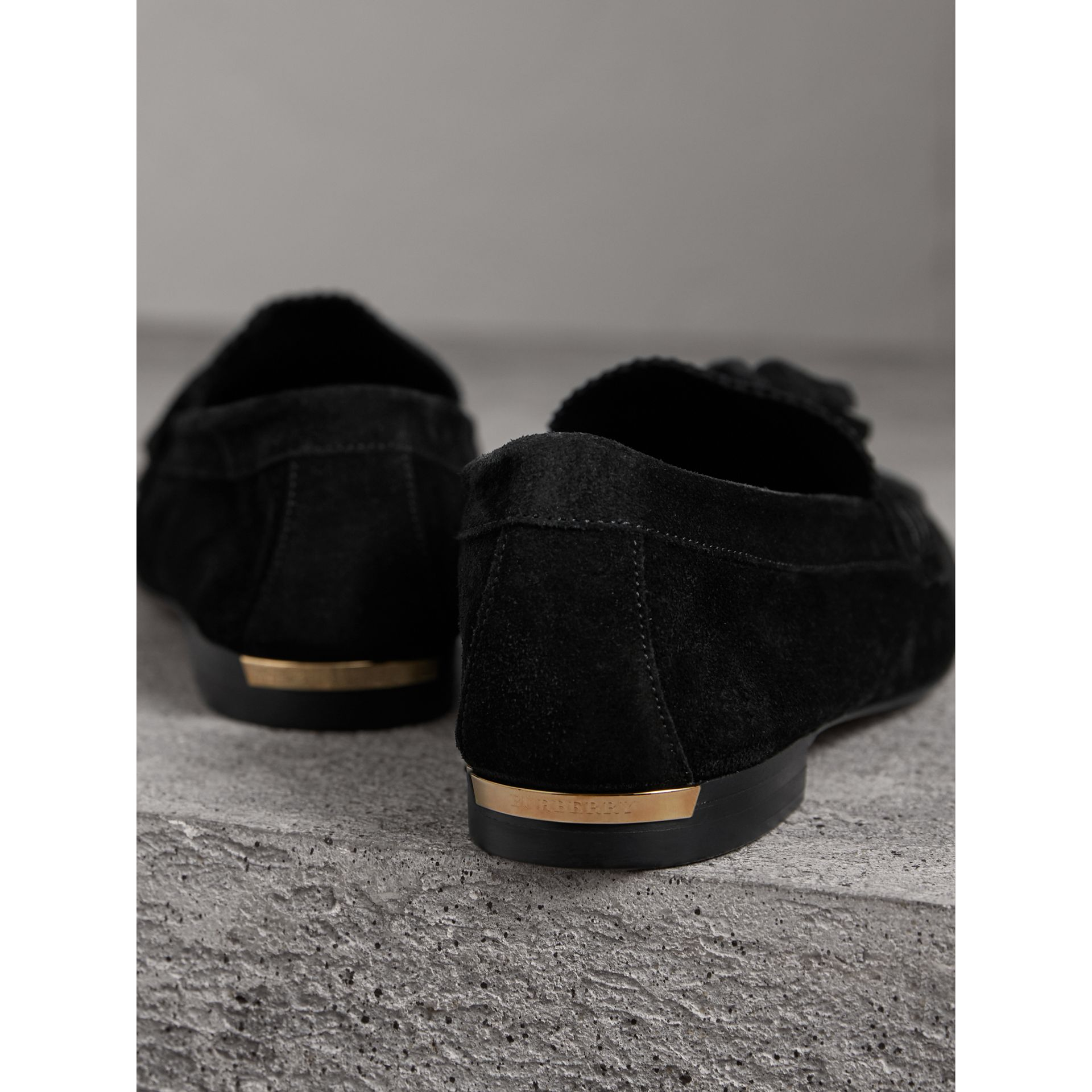 Tasselled Suede Loafers in Black - Women | Burberry United Kingdom - gallery image 3