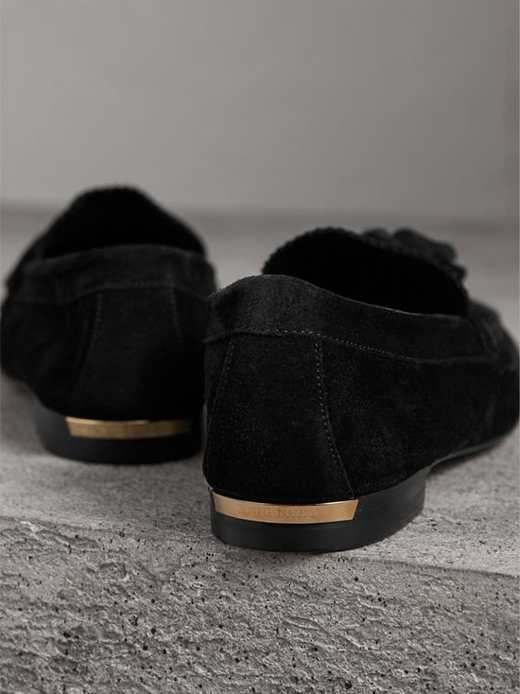 Tasselled Suede Loafers in Black - Women | Burberry United Kingdom - cell image 3