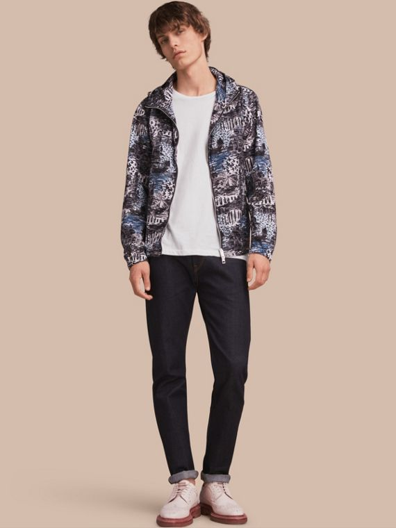 British Seaside Print Lightweight Hooded Jacket