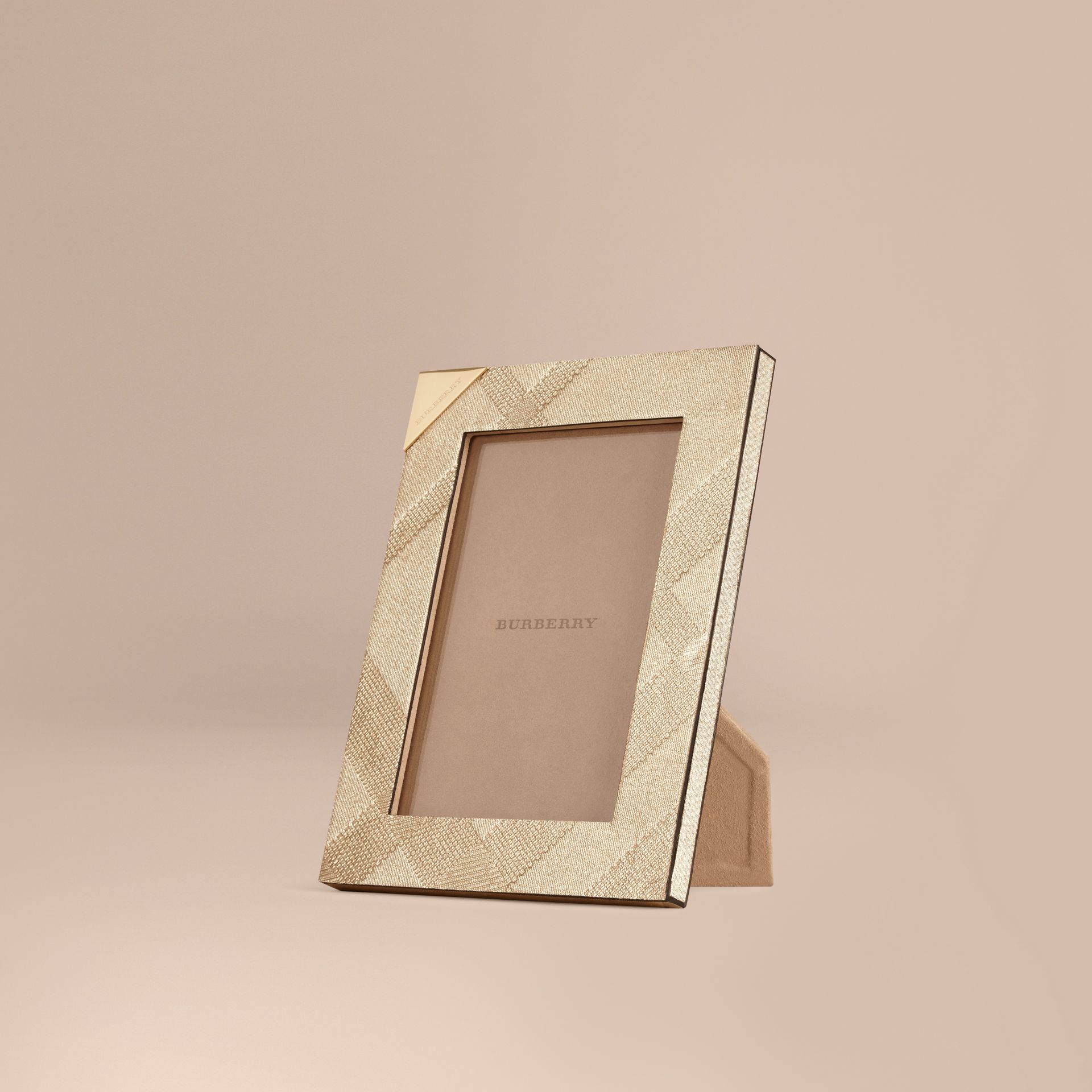 Gold Small Embossed Check Picture Frame - gallery image 1
