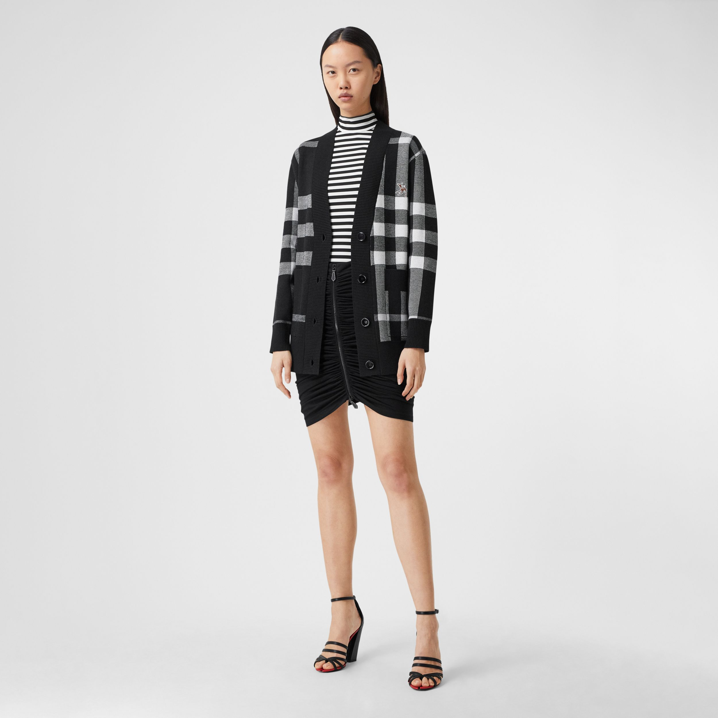 Deer Motif Check Wool Blend Jacquard Cardigan in Black - Women | Burberry - 1