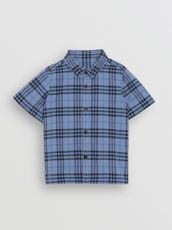 Short-sleeve Check Cotton Shirt in Dusty Blue