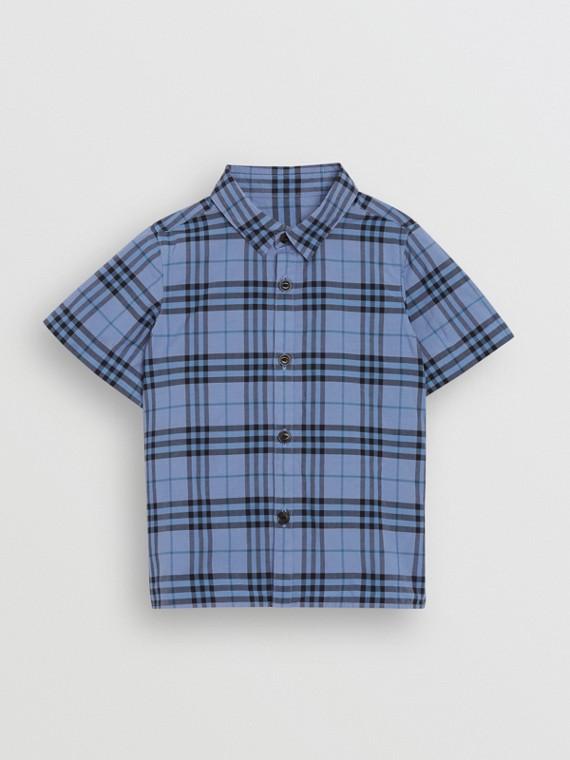 Camisa xadrez de algodão com mangas curtas (Azul Terroso)