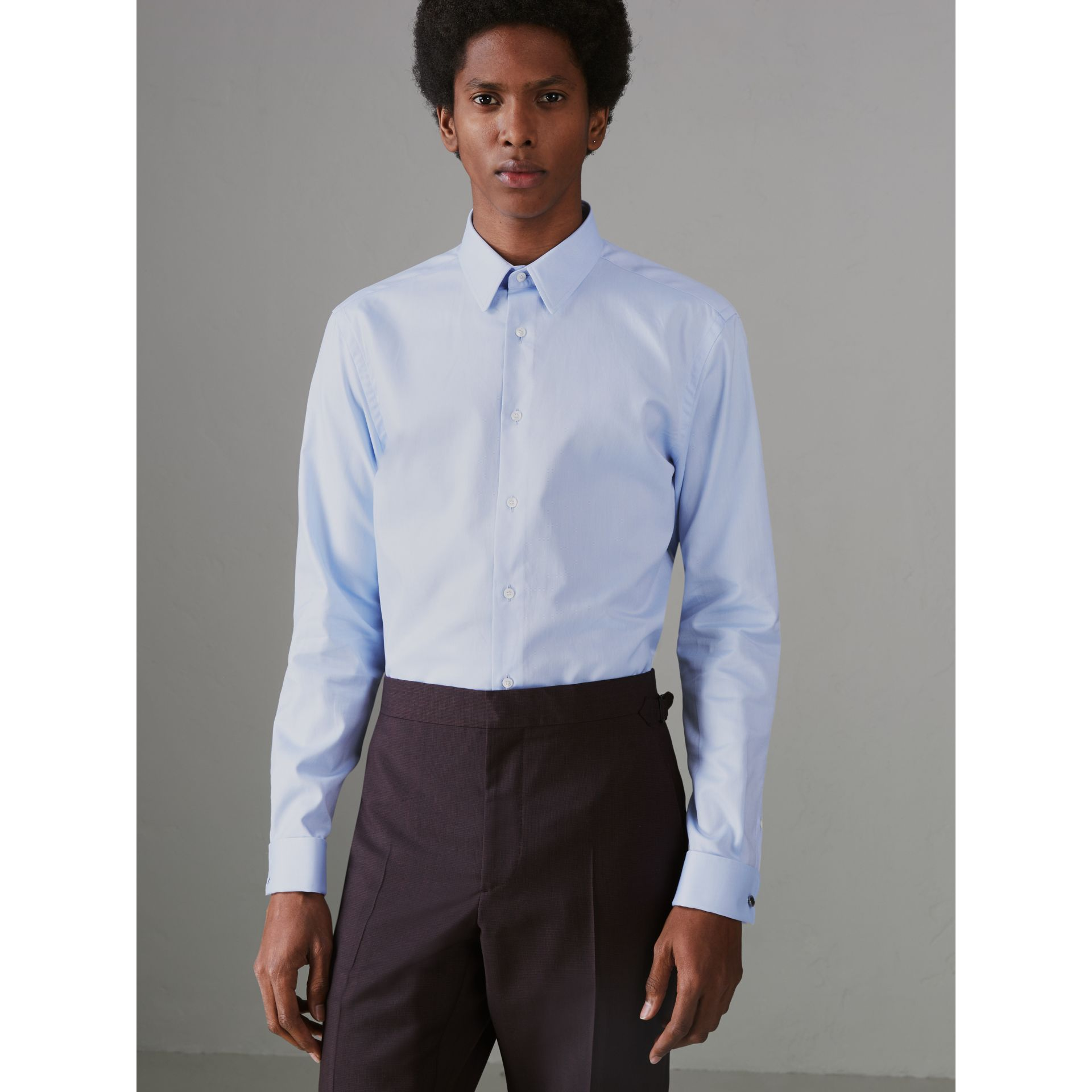 Modern Fit Double Cuff Cotton Shirt in Mid Blue - Men | Burberry - gallery image 4