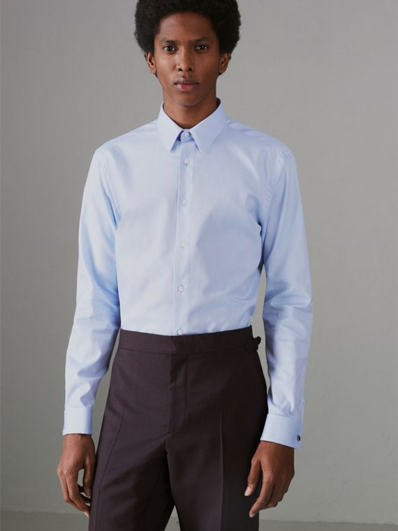 Modern Fit Double Cuff Cotton Shirt in Mid Blue