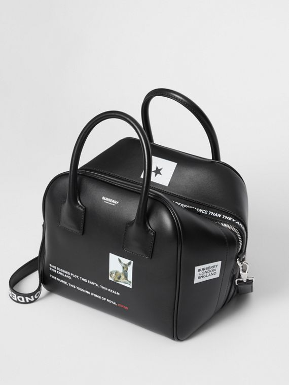 Small Montage Print Leather Cube Bag in Black