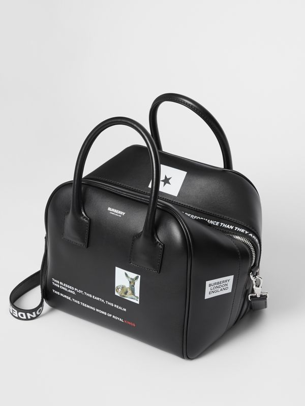 Small Montage Print Leather Cube Bag in Black - Women | Burberry United States - cell image 3