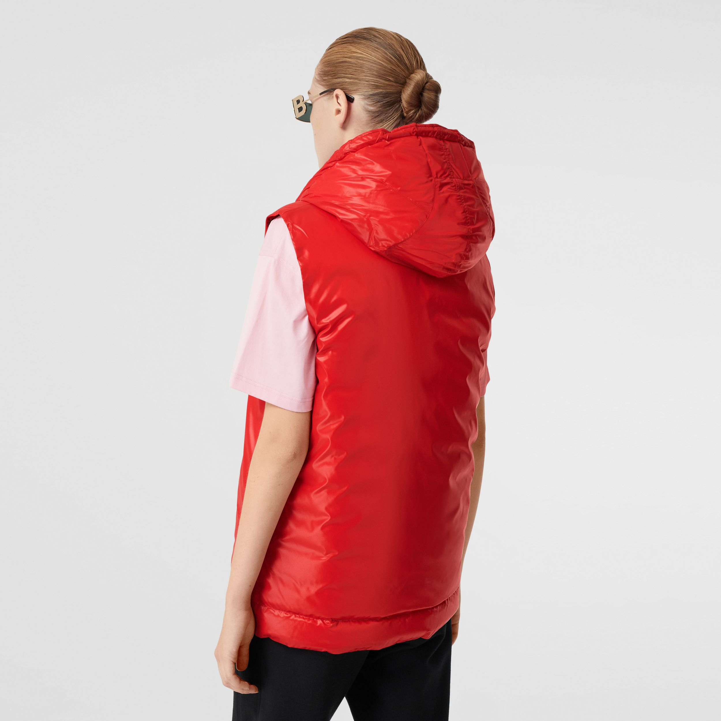 Logo Graphic Puffer Gilet in Bright Red - Women | Burberry - 3