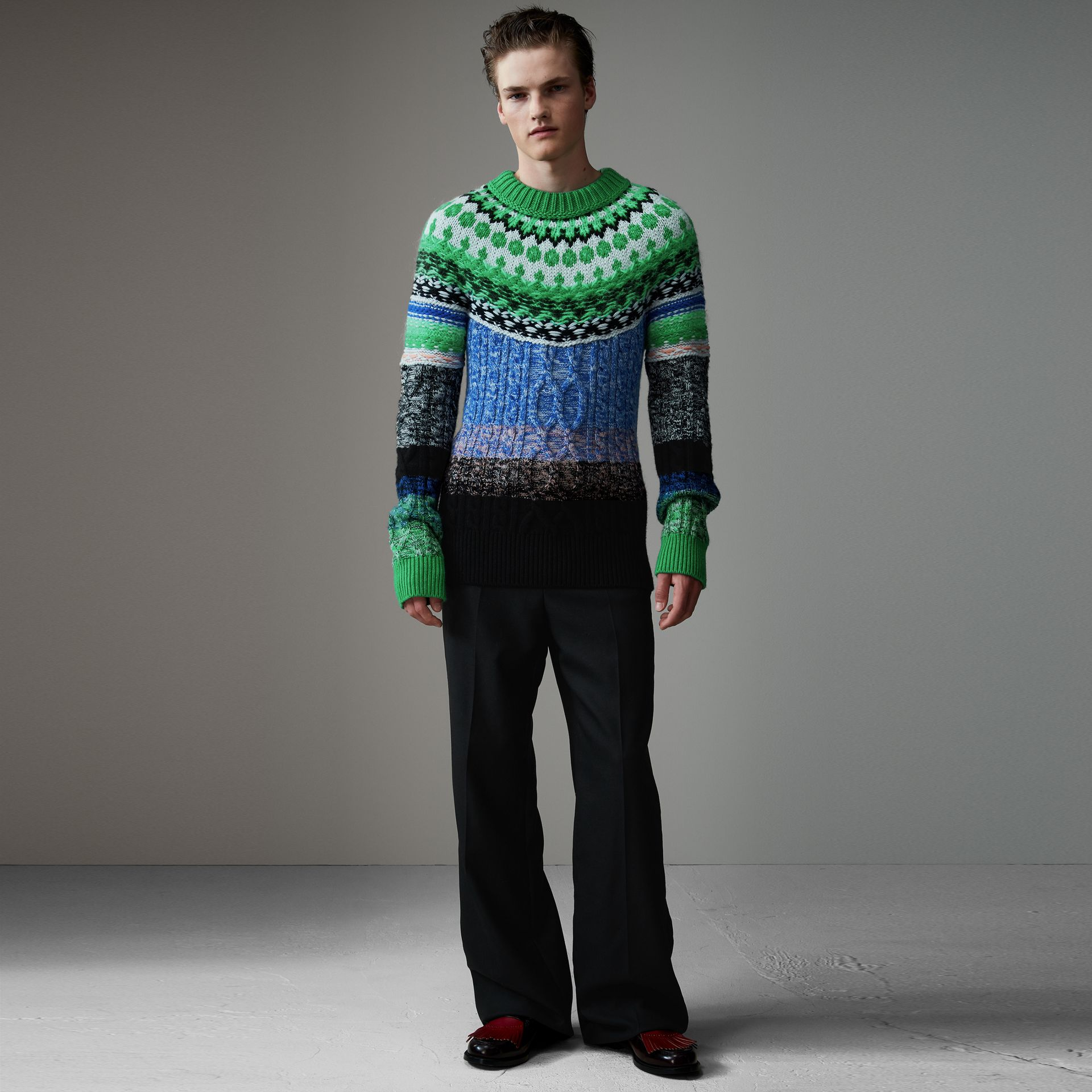 Multi-knit Cashmere Wool Mohair Mouliné Sweater in Bright Turquoise Green - Men | Burberry United Kingdom - gallery image 0