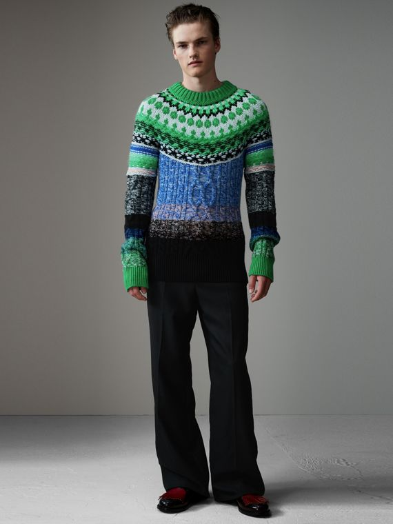 Multi-knit Cashmere Wool Mohair Mouliné Sweater in Bright Turquoise Green