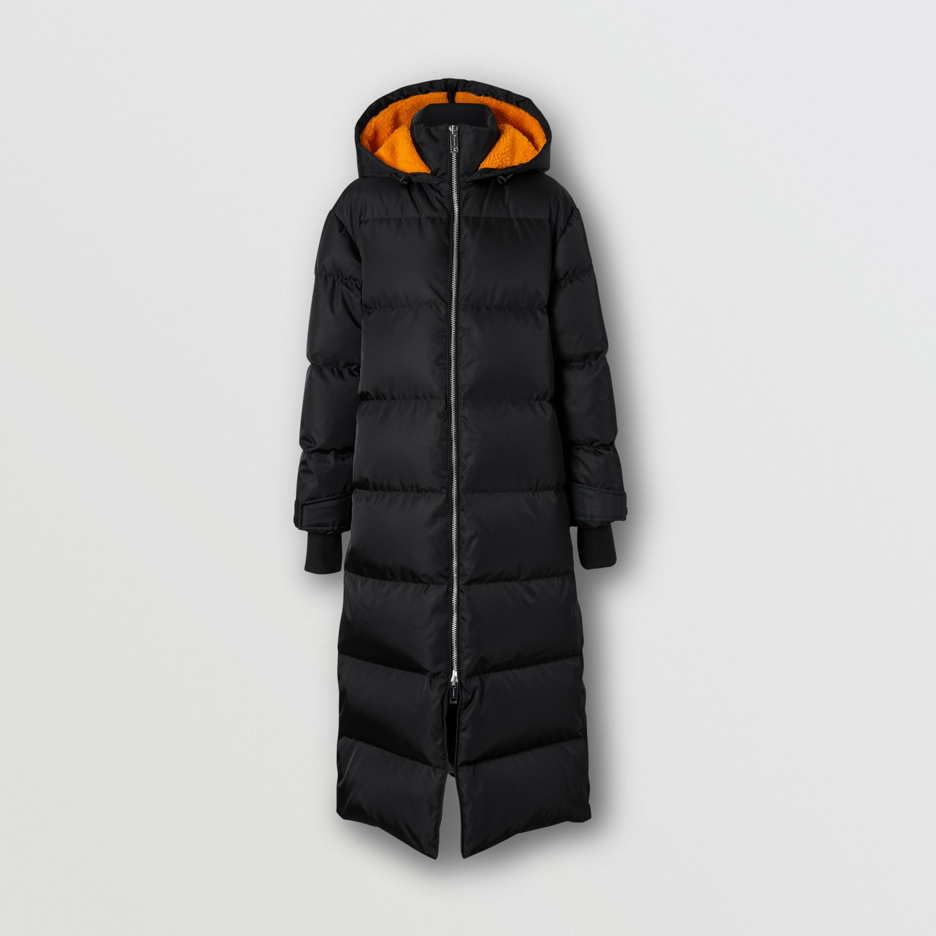 Logo Detail ECONYL® Puffer Coat in Black/orange - Women | Burberry United States - gallery image 3