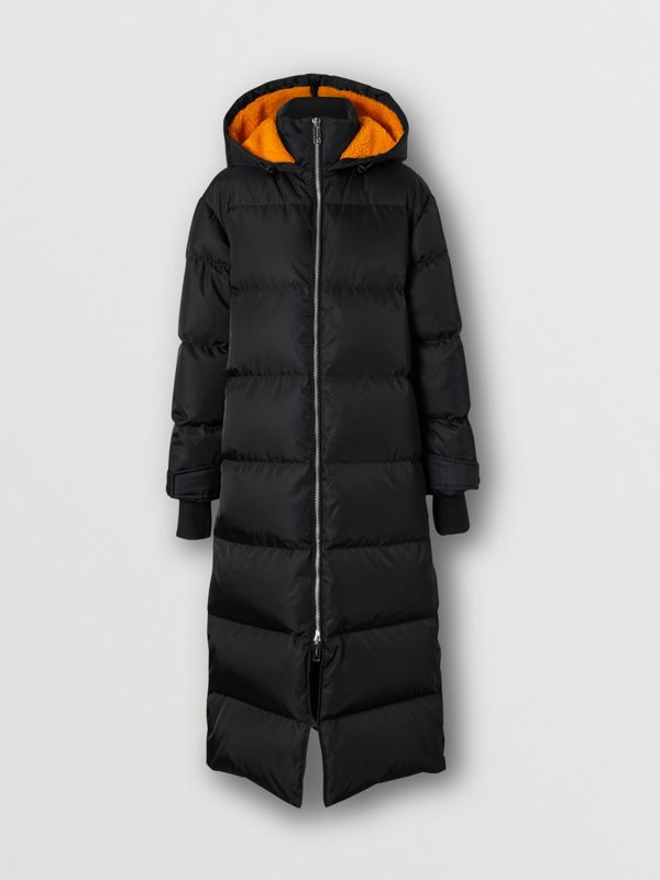 Logo Detail ECONYL® Puffer Coat in Black/orange - Women | Burberry Hong Kong S.A.R - cell image 3