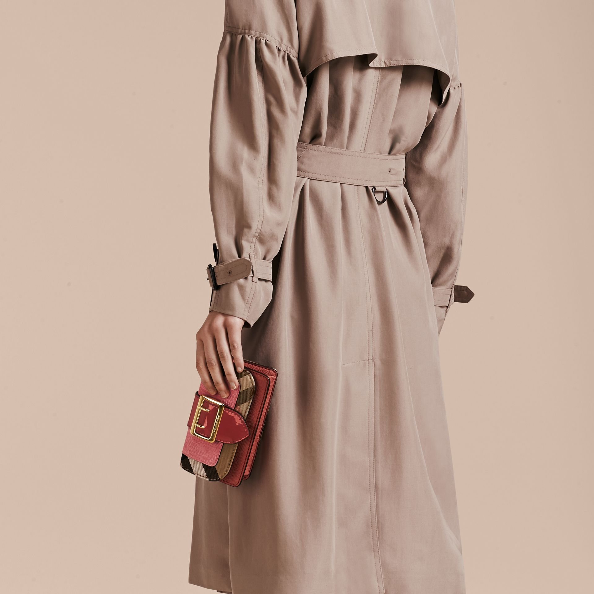 Rose pink The Mini Buckle Bag in Leather and House Check Rose Pink - gallery image 4