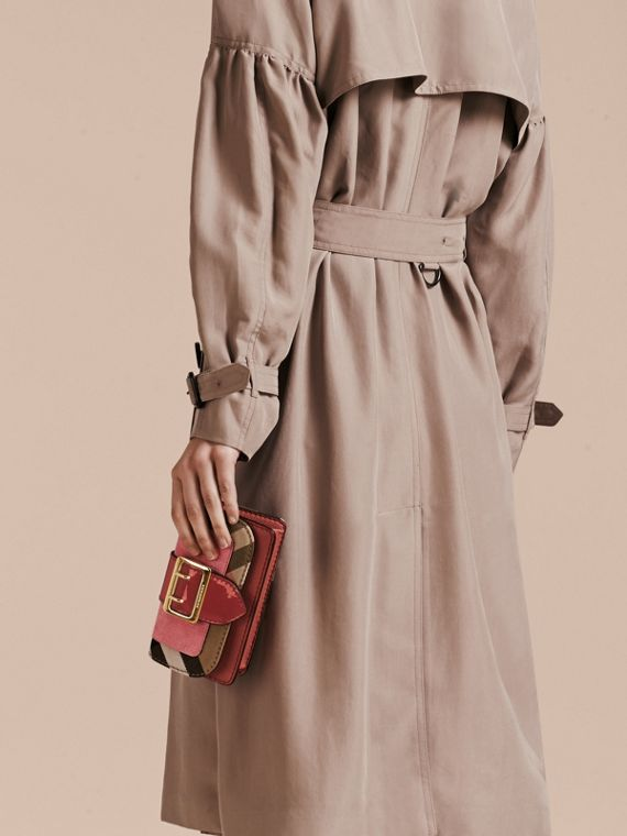 The Mini Buckle Bag in Leather and House Check Rose Pink - cell image 3