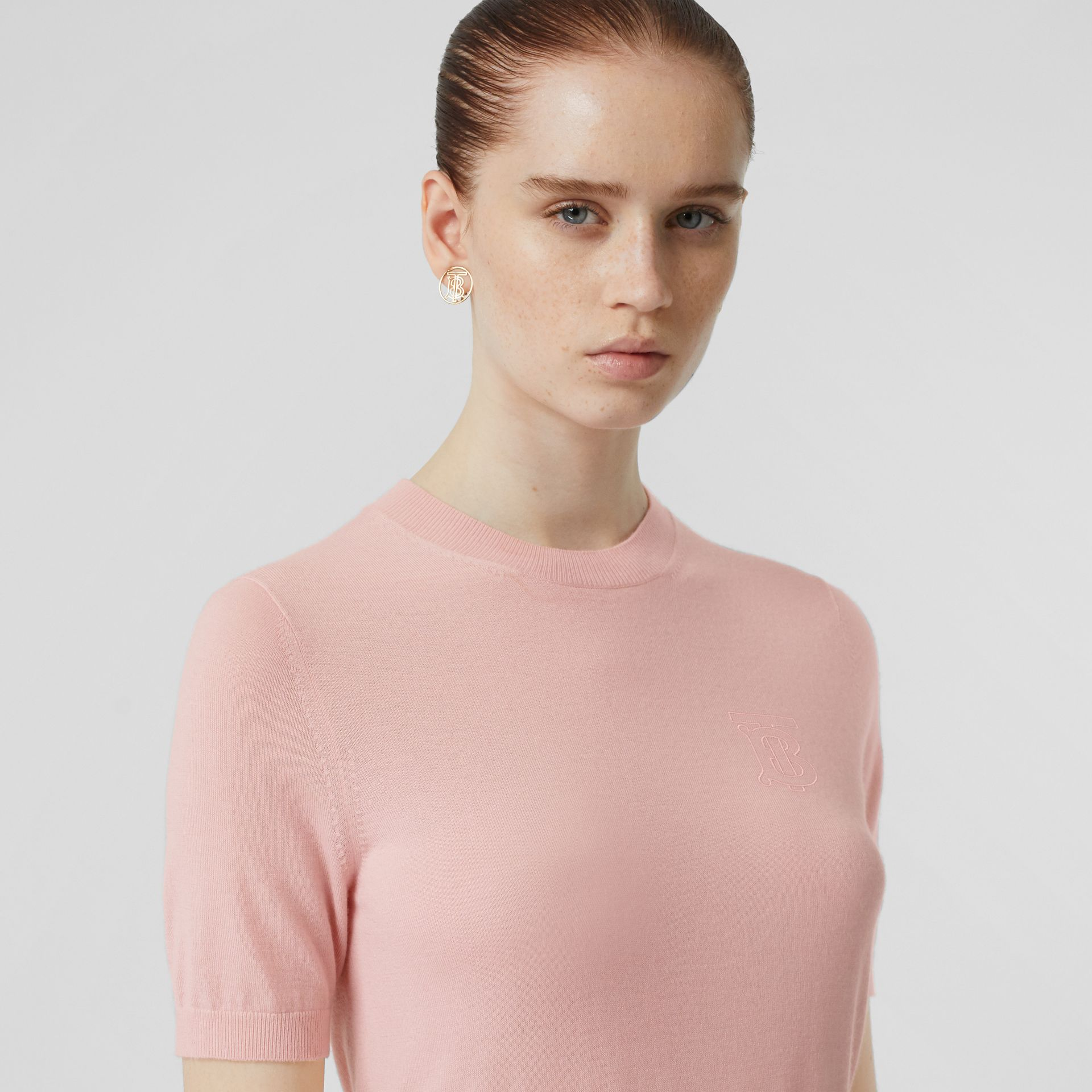 Monogram Motif Cashmere Top in Pink - Women | Burberry - gallery image 1