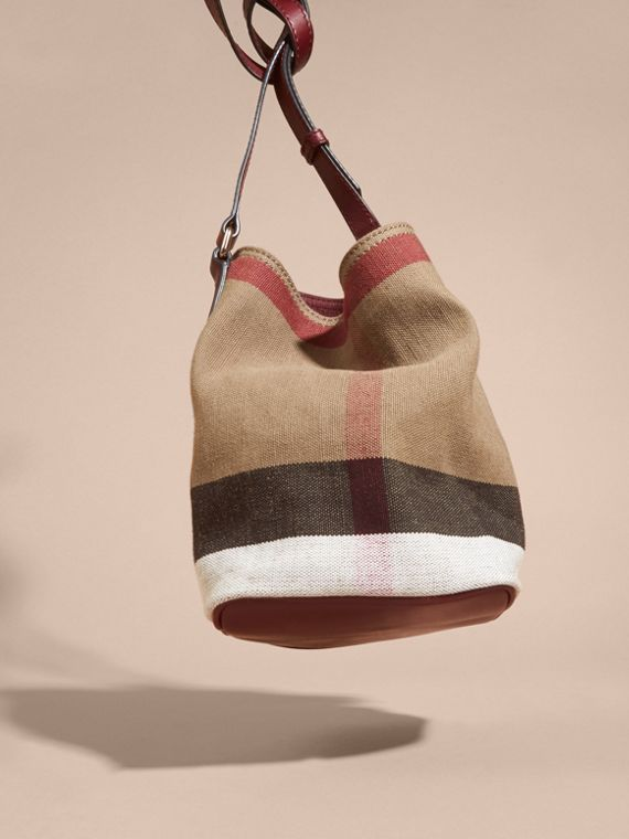 Burgundy red The Small Ashby in Canvas Check and Leather - cell image 3