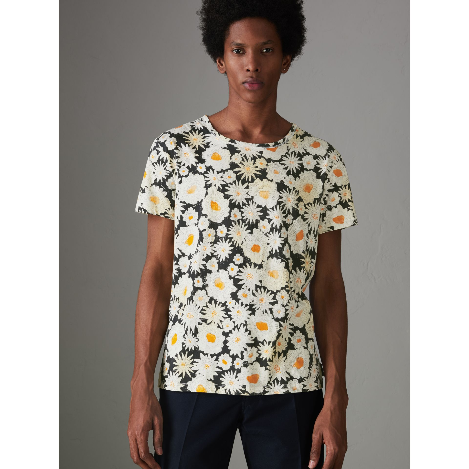 Daisy Print Cotton T-shirt in Black - Men | Burberry Australia - gallery image 4