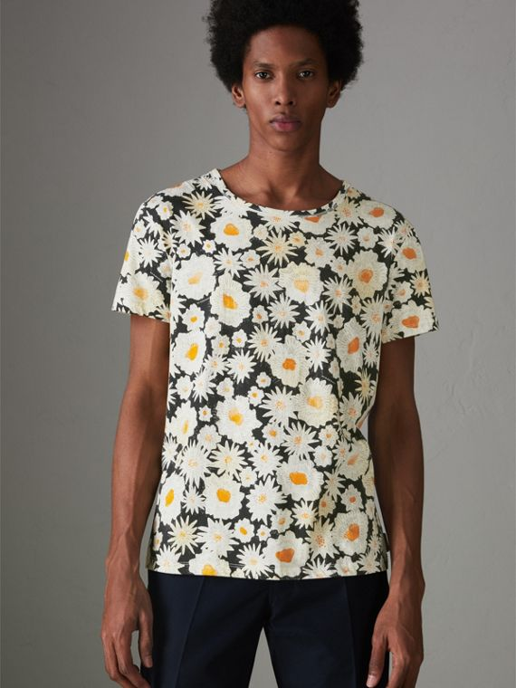 Daisy Print Cotton T-shirt in Black
