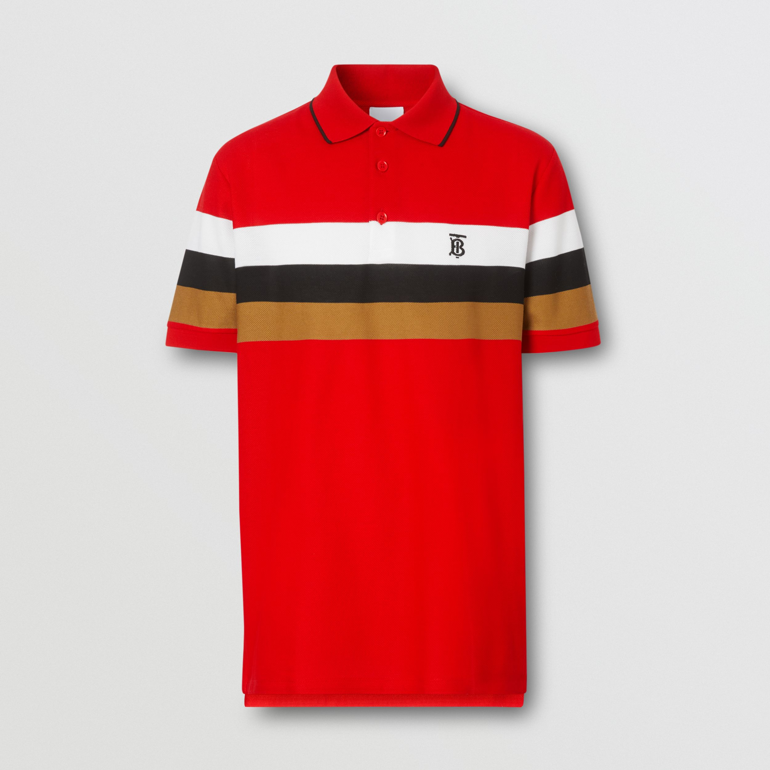 Monogram Motif Striped Cotton Polo Shirt in Bright Red - Men | Burberry - 4