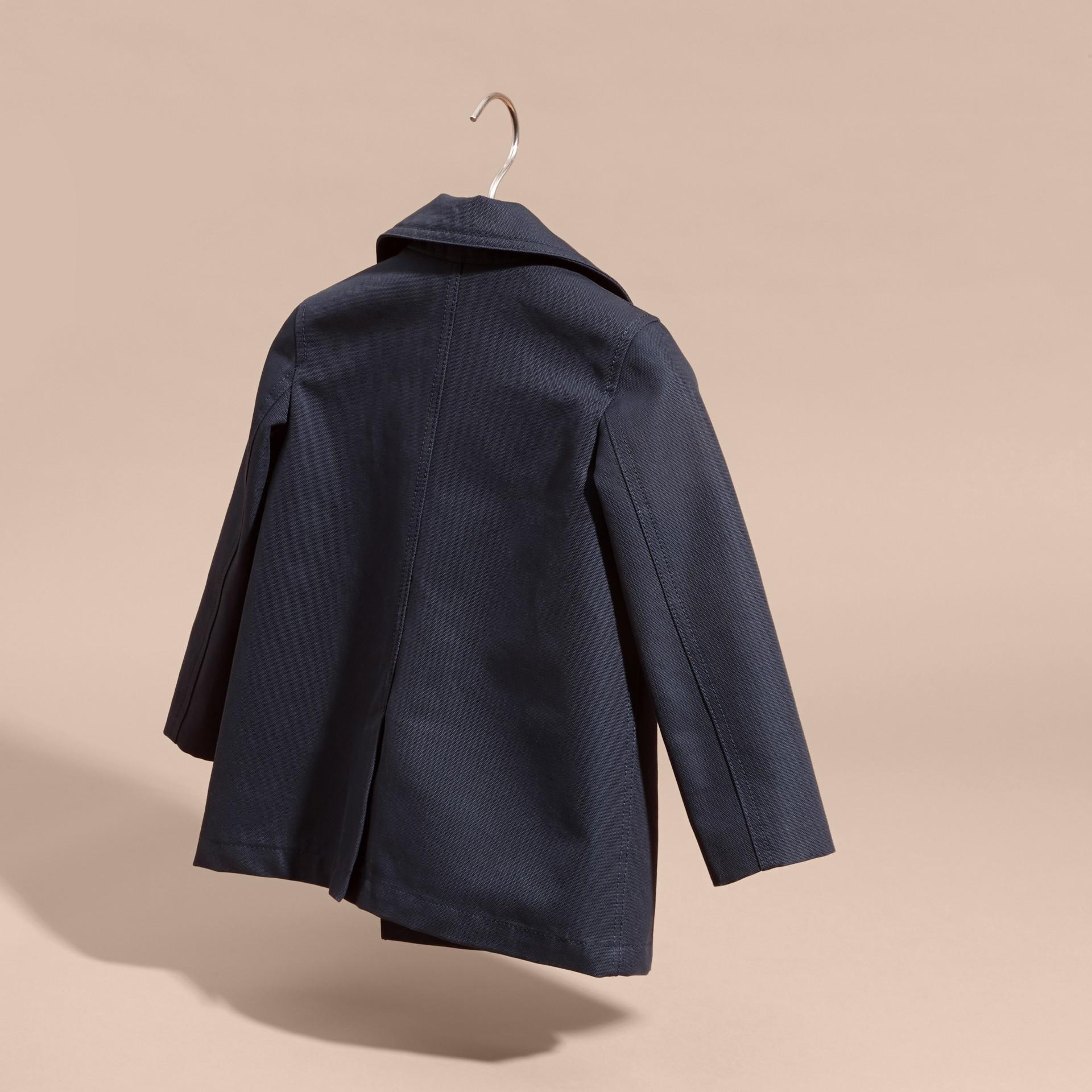 Leather Trim Cotton Pea Coat - gallery image 4