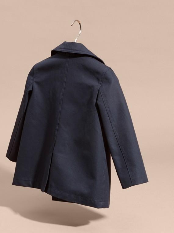 Leather Trim Cotton Pea Coat - cell image 3