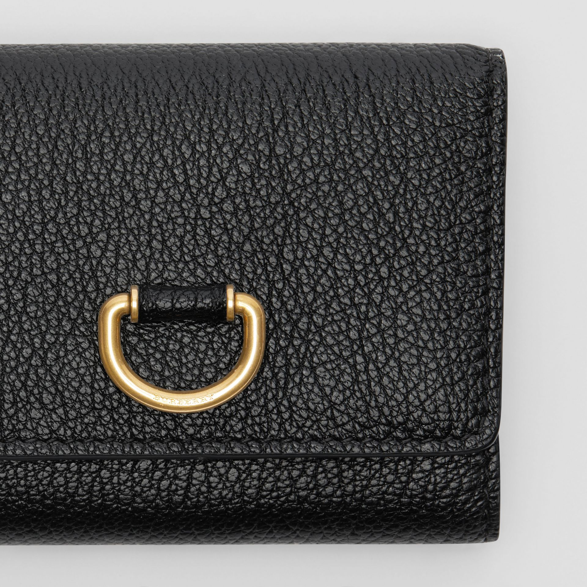 Small D-ring Leather Wallet in Black - Women | Burberry - gallery image 1