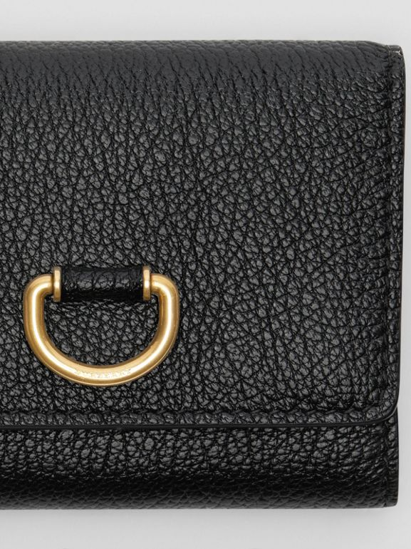 Small D-ring Leather Wallet in Black - Women | Burberry Australia - cell image 1