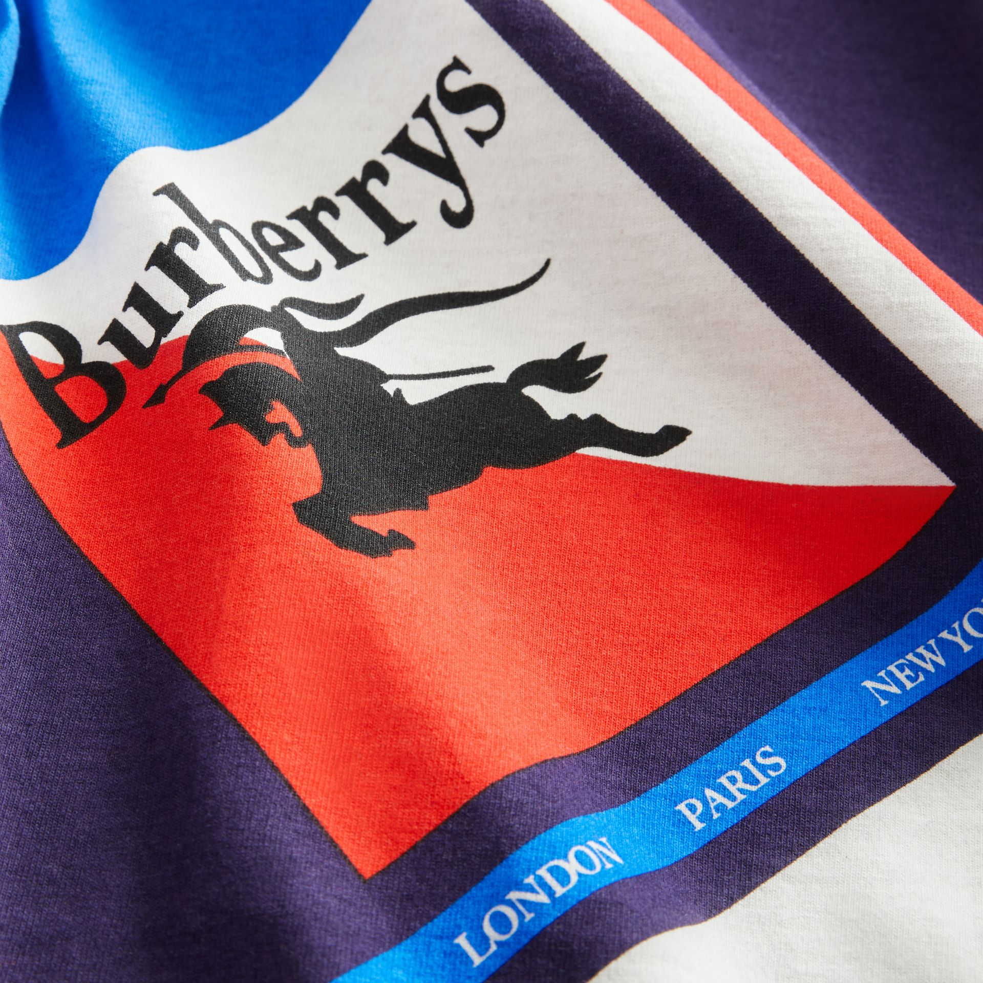 Long-sleeve Archive Logo Print Cotton Top in Multicolour | Burberry Singapore - gallery image 1