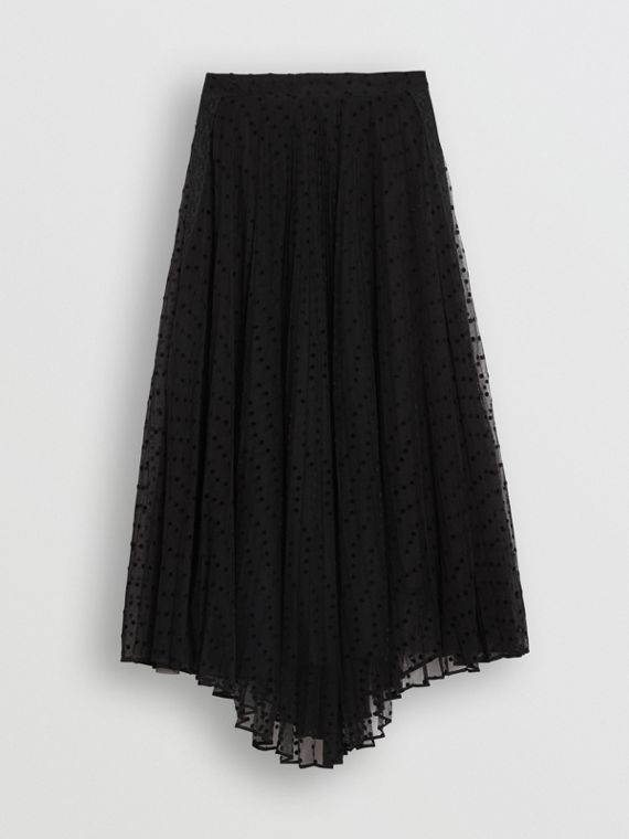 Polka-dot Flock Tulle Skirt in Black