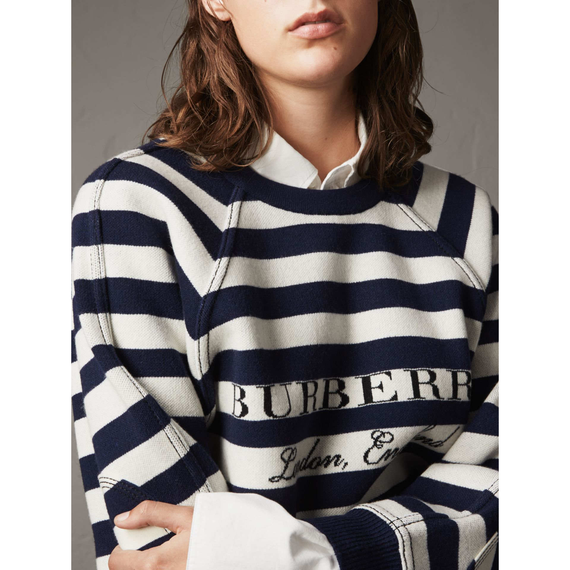 Breton Stripe Wool Cashmere Blend Sweater - Women | Burberry - gallery image 2