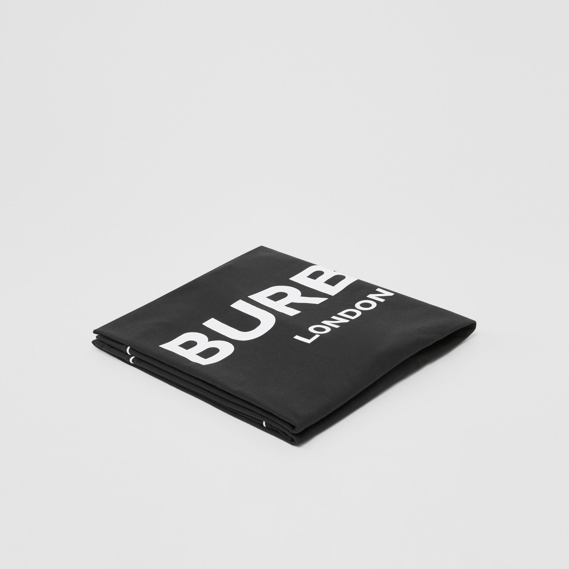 Logo Print Cotton Baby Blanket in Black - Children | Burberry United Kingdom - gallery image 0